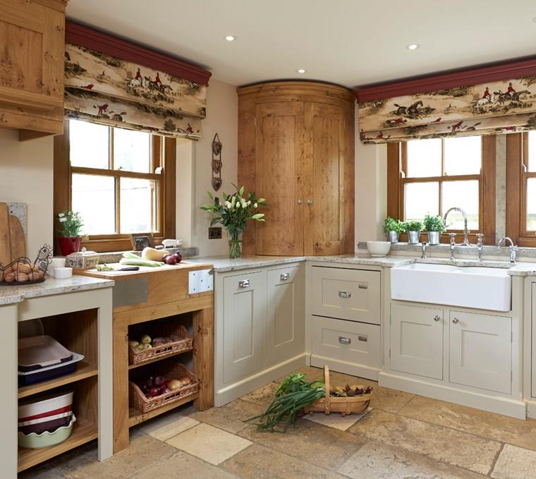 cucina tradizionale lavandino incasso mensole aperte