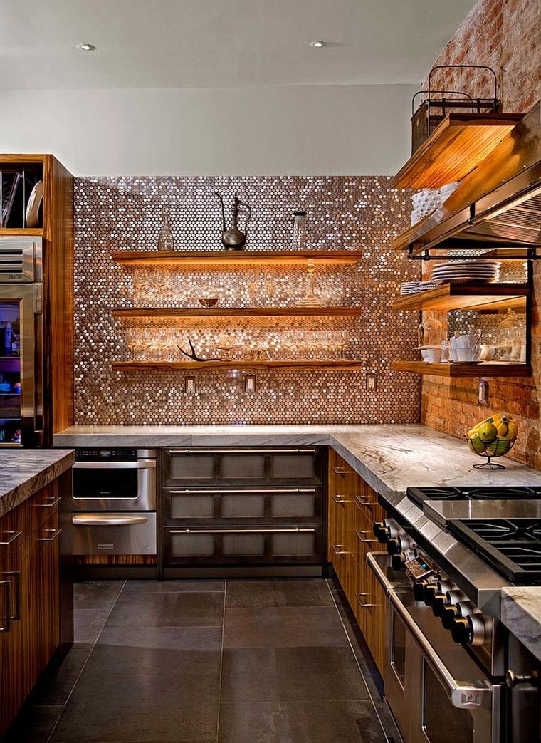 cucine contemporanee piastrelle rame effetto lucido brillante