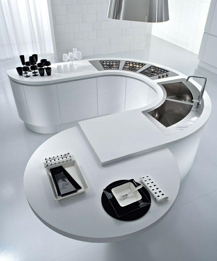 cucine piccole isola bianca curvata include lavabo fornelli tavolino rotondo