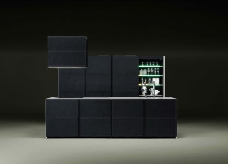 cucine piccole risparmiare spazio monoblocco design nero
