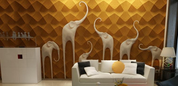 decorare pareti pannello industriale figurine elefanti bianchi