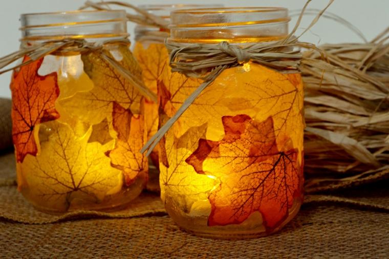decorazione autunnale fai da te barattoli foglie porta candelle bellissimo