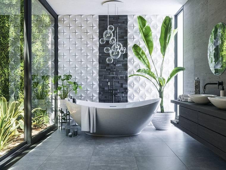 Sala da bagno con vasca, sala da bagno con rivestimento pareti in piastrelle grigie