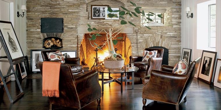 decorazioni autunnali stile rustico soggiorno