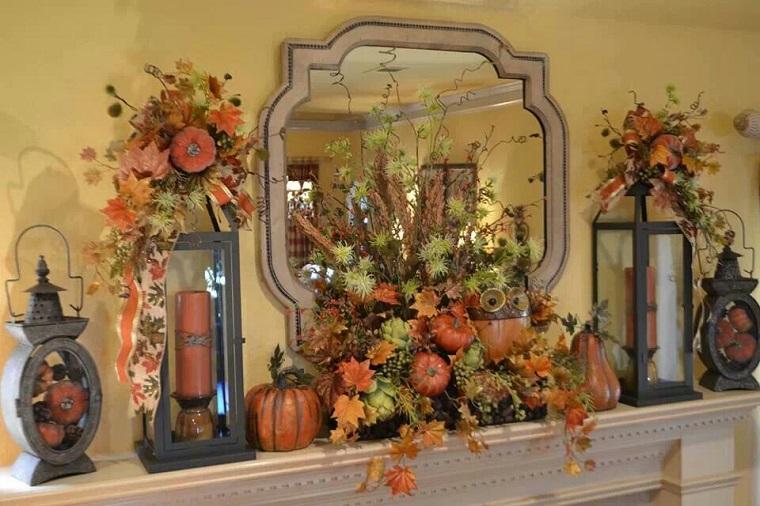 decorazioni autunnali zucche mensola camino