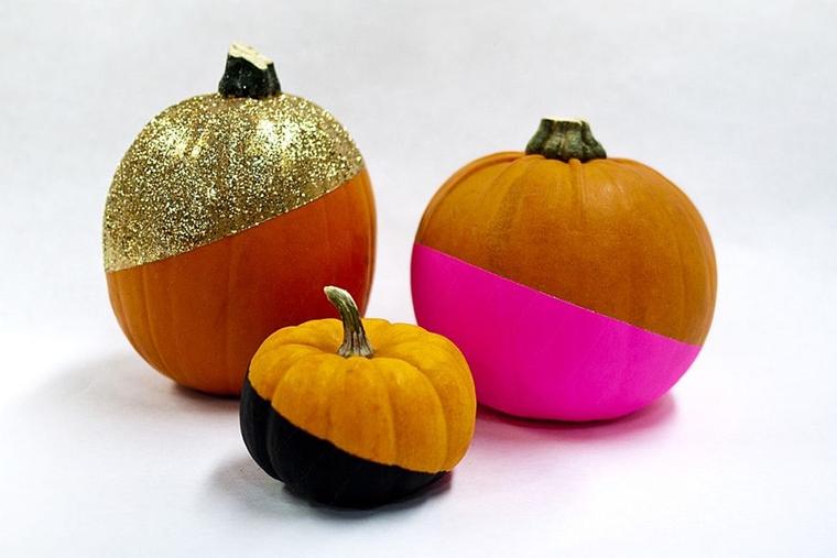 decorazioni haloween zucca dorata motivi luccicanti