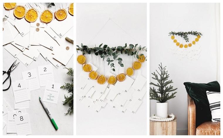Decori natalizi, parete decorata con un calendario dell'avvento, fettine di arancia secca