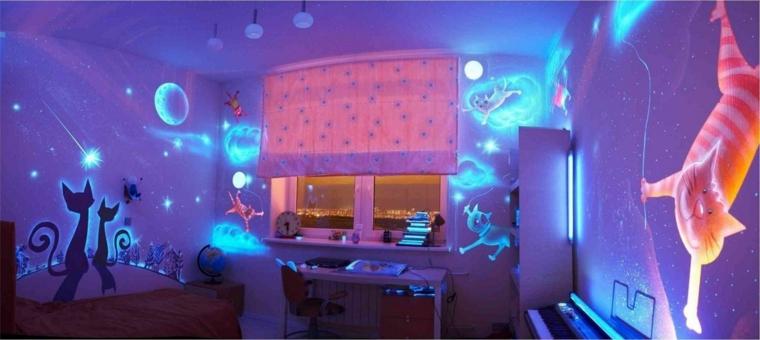 decorazioni pareti colori luminescenti animano parete gatti cielo notturno
