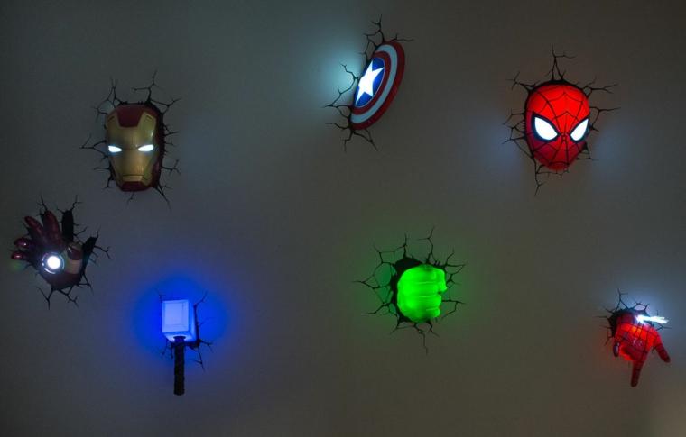 decorazioni pareti luci notturne forme interessanti personaggi preferiti