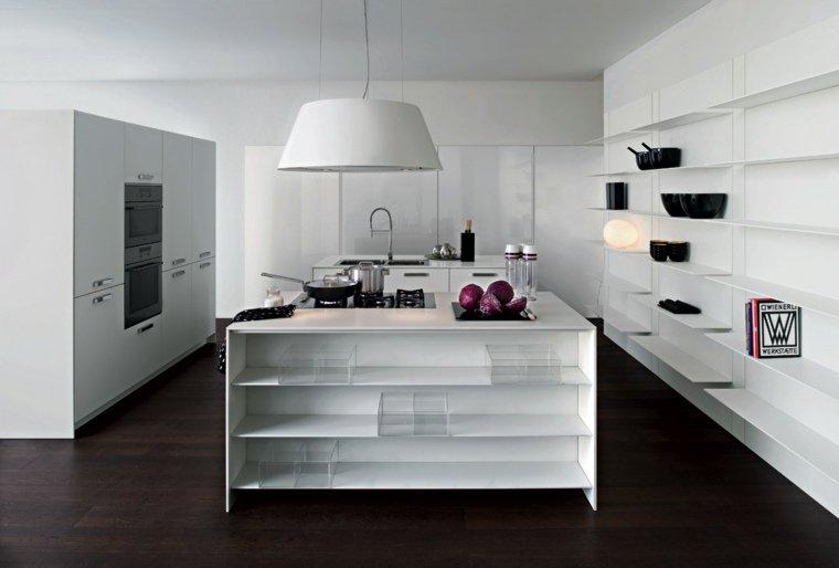 design cucina bianca lucida mensole vista