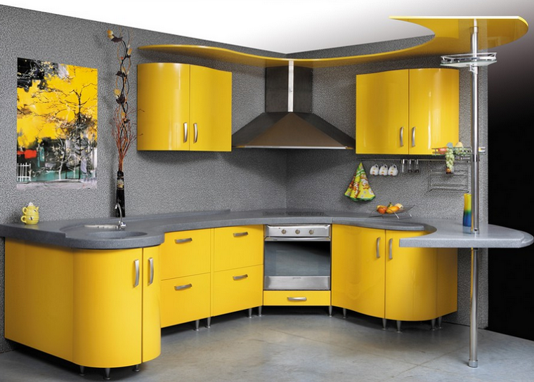 design giallo piano lavoro grigio penisola moderna