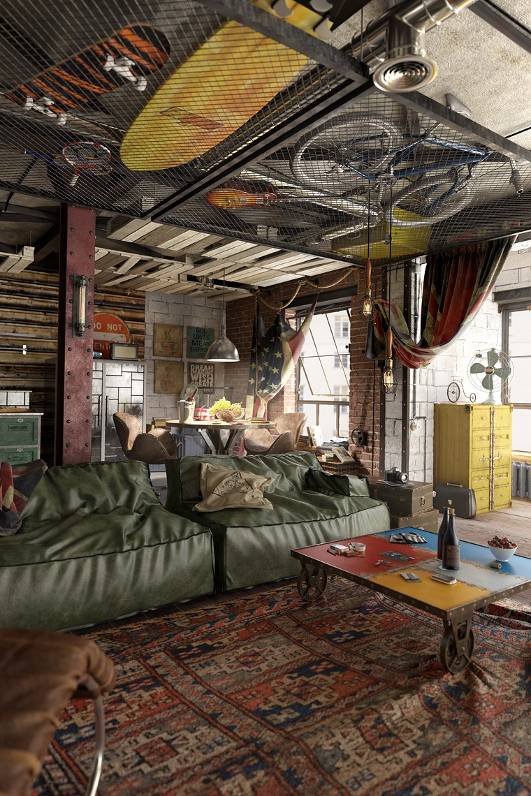 design industriale divani pelle verdi