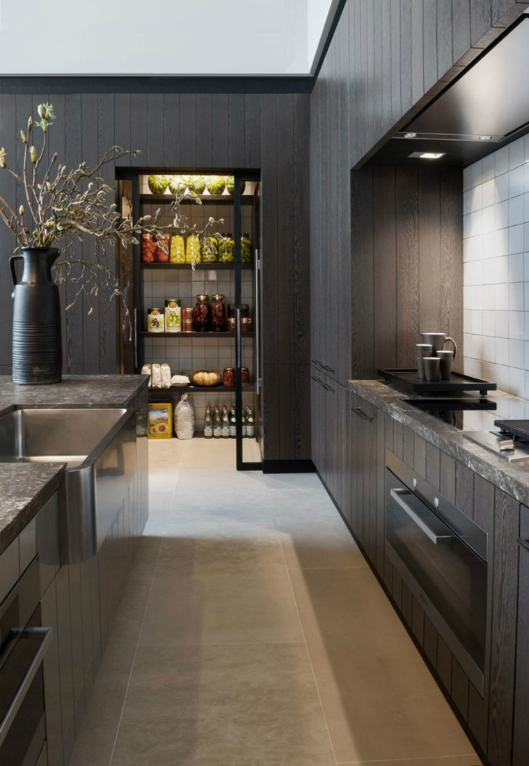 dispensa cucina moderna nero illiminazione adatta