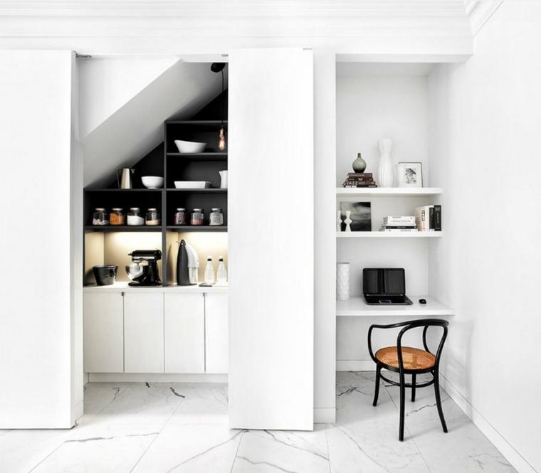 dispensa stile minimalista organizzata nicchia scale