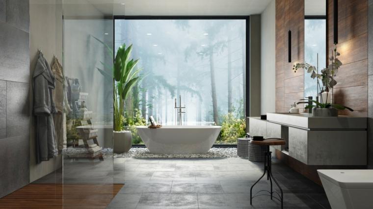 Come abbellire il bagno, sala da bagno con box doccia e vasca, pavimento con piastrelle grigie