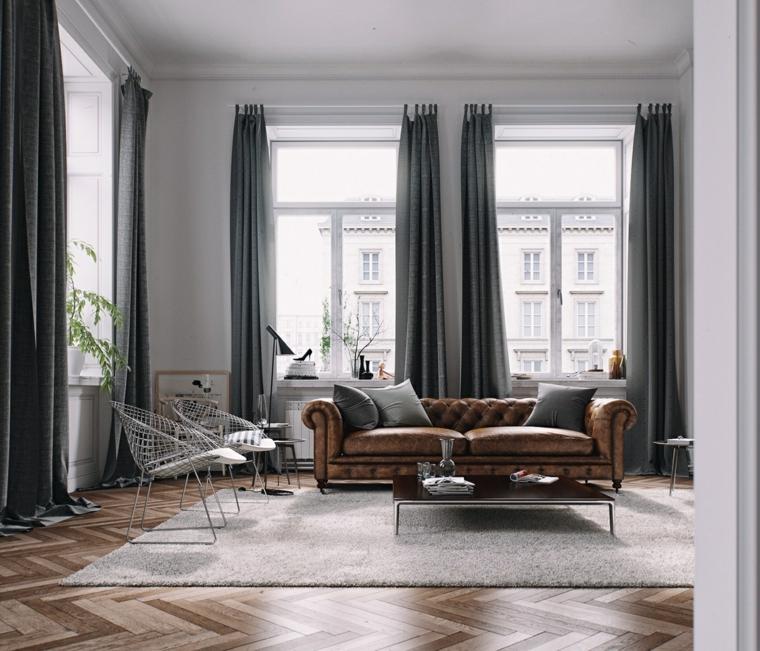 divano marone vintage sedie bianche tende grige retrò salotto moderno