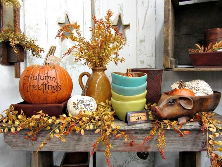 elementi decorativi zucca foglie piatti