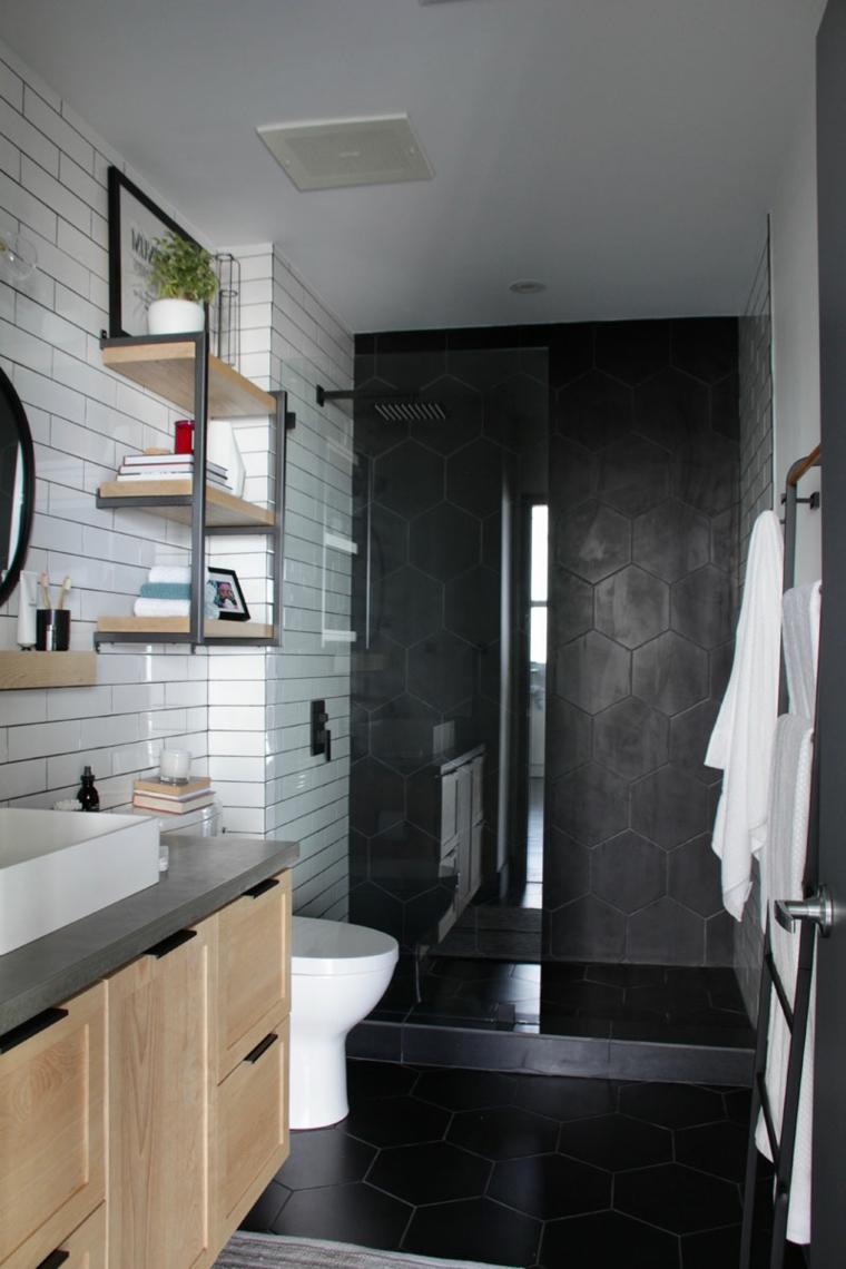 Idee per ristrutturare il bagno, bagno con box doccia separato di vetro