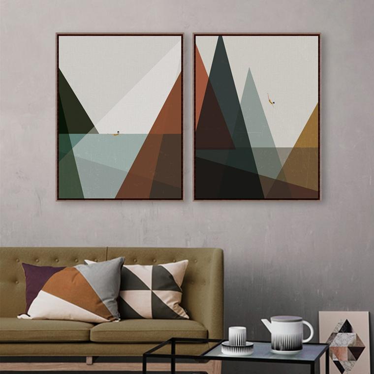 forme geometriche quadri cuscini tocco retrò moderno