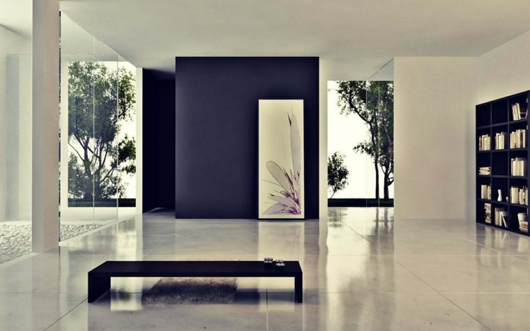 forme geometriche soggiorno moderno tavolino basso parete blu tanta luce
