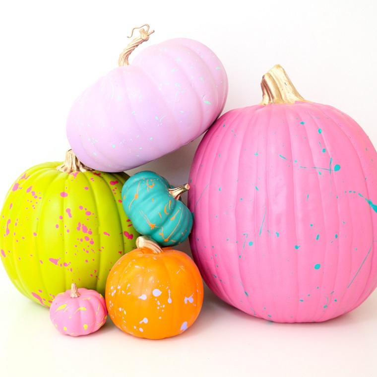 Immagini di zucche di Halloween, zucche dipinte con vernice, zucche finte per Halloween