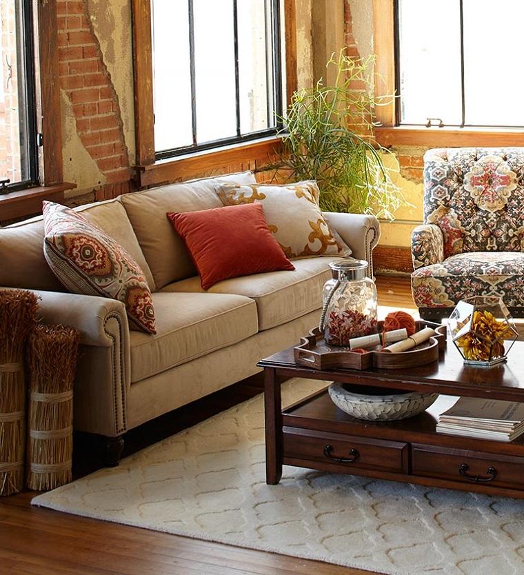 idea decorazione soggiorno colori elementi autunnali