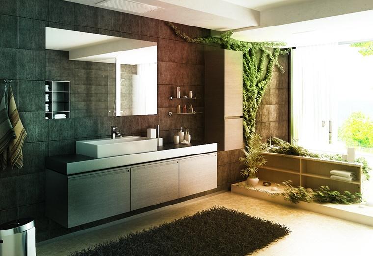 Bagno Legno Naturale : Idee bagno moderno con inserti in legno e pietra archzine