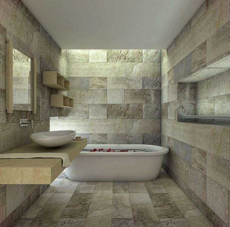 Idee bagno moderno con inserti in legno e pietra - Idee rivestimento bagno ...
