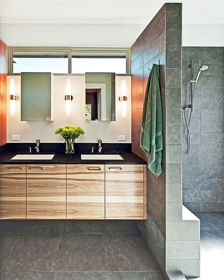 Idee bagno moderno con inserti in legno e pietra for Interior decorators mobile al