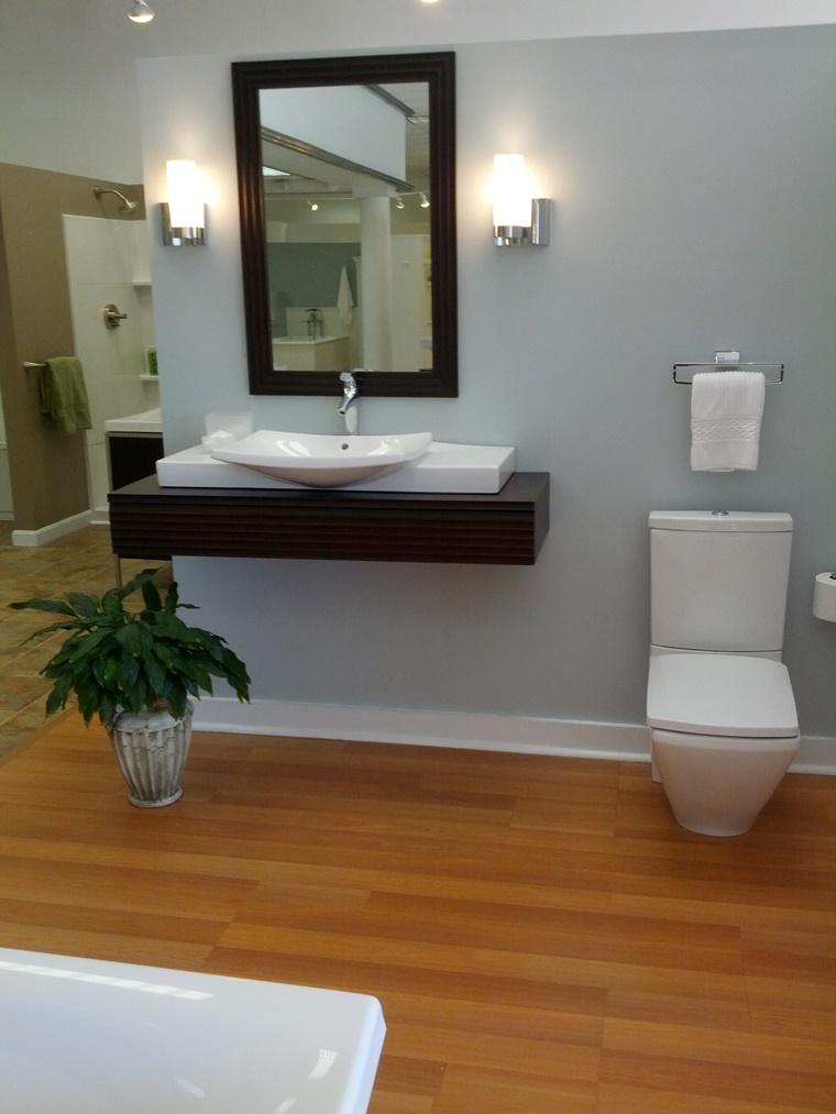 idee bagno lavabo galleggiante legno rovere