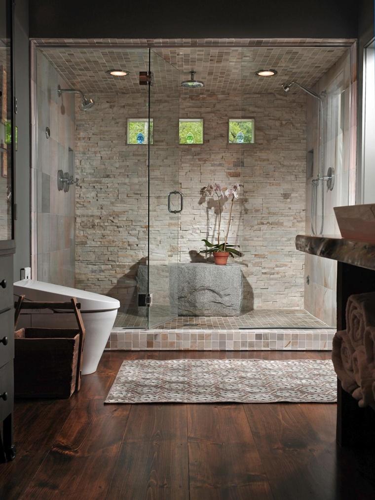 Idee bagno moderno con inserti in legno e pietra - Bagno moderno con doccia ...