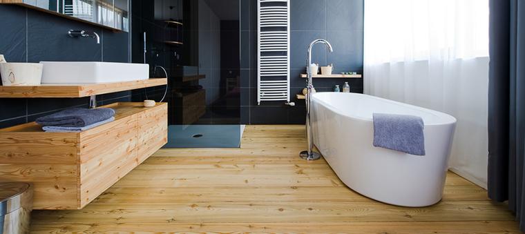 idee bagno moderno pavimentazione legno lavabo porcellana