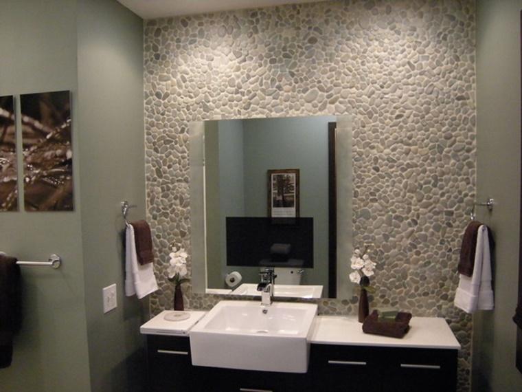 Decorazione Pareti Bagno : Idee bagno moderno con inserti in legno e pietra archzine.it