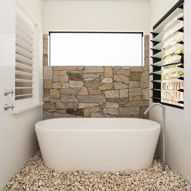 Idee bagno moderno con inserti in legno e pietra - Vasca da bagno moderna ...