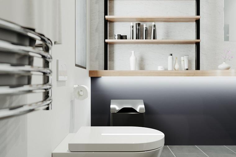Piastrelle bagni moderni, mobile di legno con mensole, sala da bagno con pavimento in piastrelle