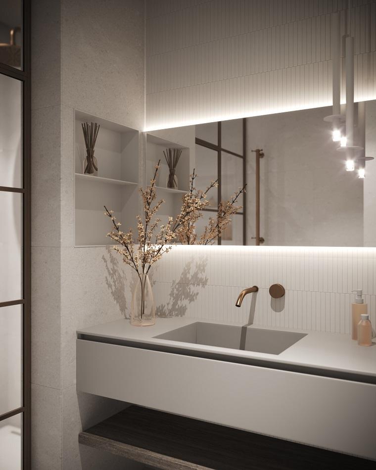 Vaso con composizione floreale sul lavabo, idee bagno moderno piccolo, bagno con specchio retro illuminato