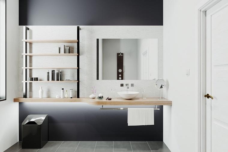 Rivestimenti bagni esempi, sala da bagno con mobile lavabo in legno e mensole