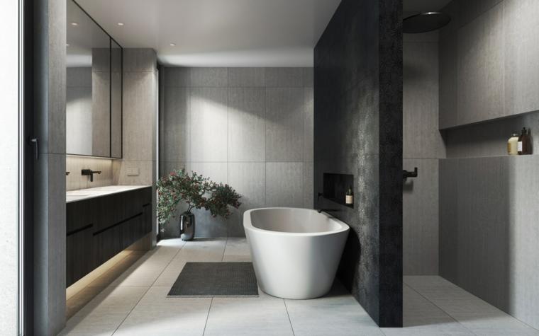 Piastrelle bagni moderni, sala da bagno con vasca e box doccia, mobile con lavabo da incasso