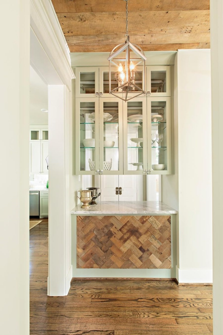 idee salvaspazio utilizzare nicchie libere cucina decorazioni legno