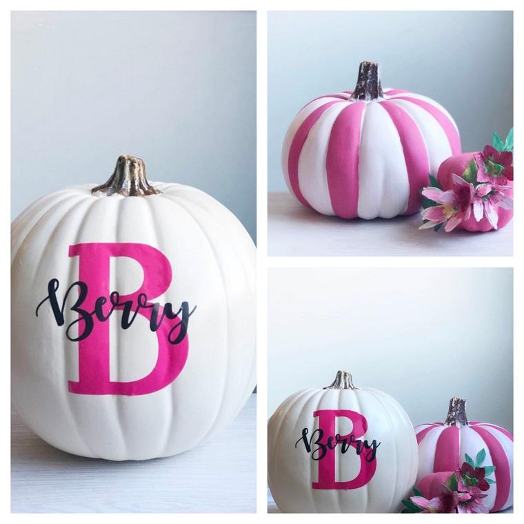 Zucche di plastica, disegno e scritte in inglese, foto zucche Halloween, zucca dipinta
