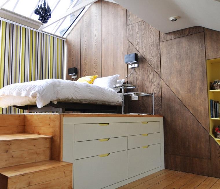 interior design letto soppalco integrate cassettiere