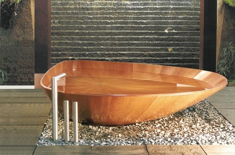 interior design vasca stile rustico legno decorazione pietra