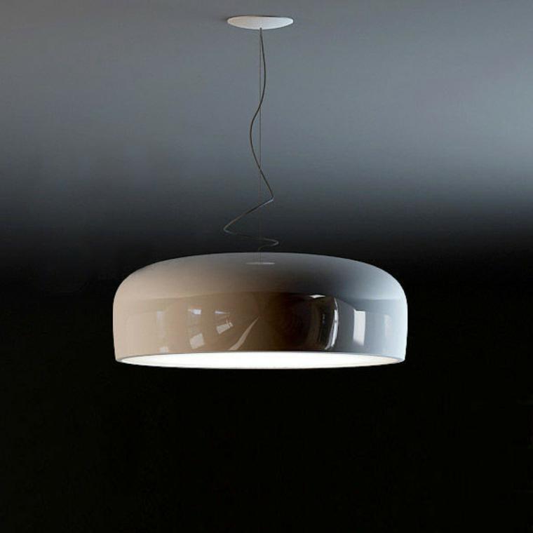 lampadario rotondo bianco lucido stile minimal