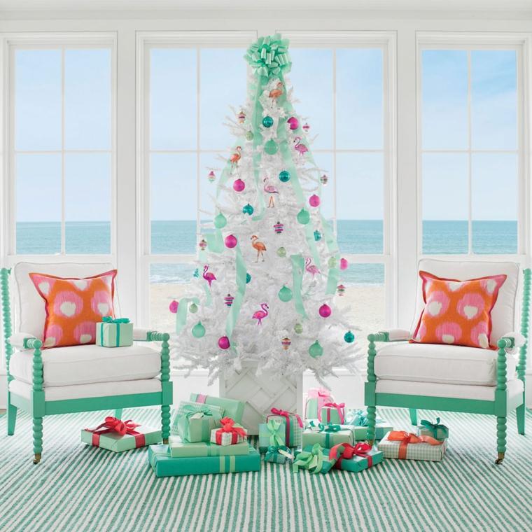Lavoretti di Natale semplici ma belli, albero di Natale di colore bianco, soggiorno con mobili di legno