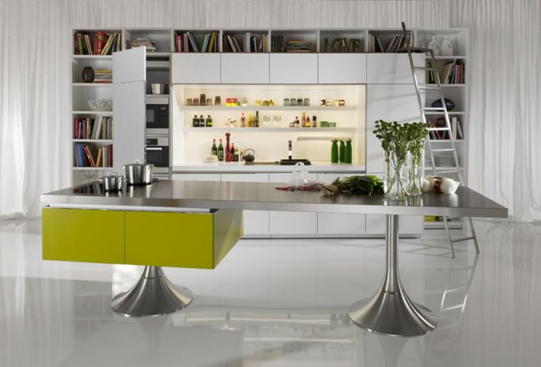 libreria insieme cucina bianco verde inox