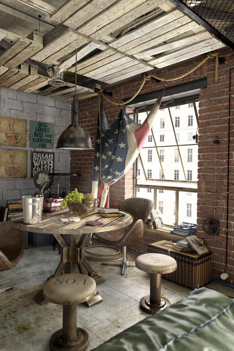 loft arredamento stile industriale tavolo rotondo coppia sedie pelle