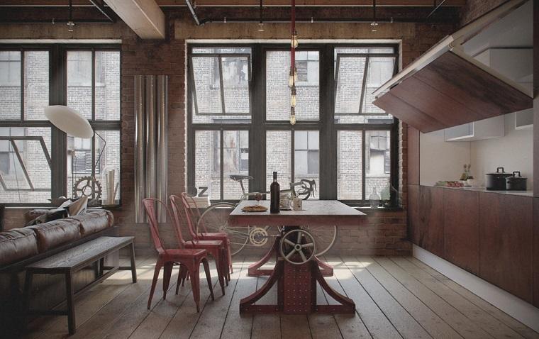 loft design industriale creativo zona soggiorno