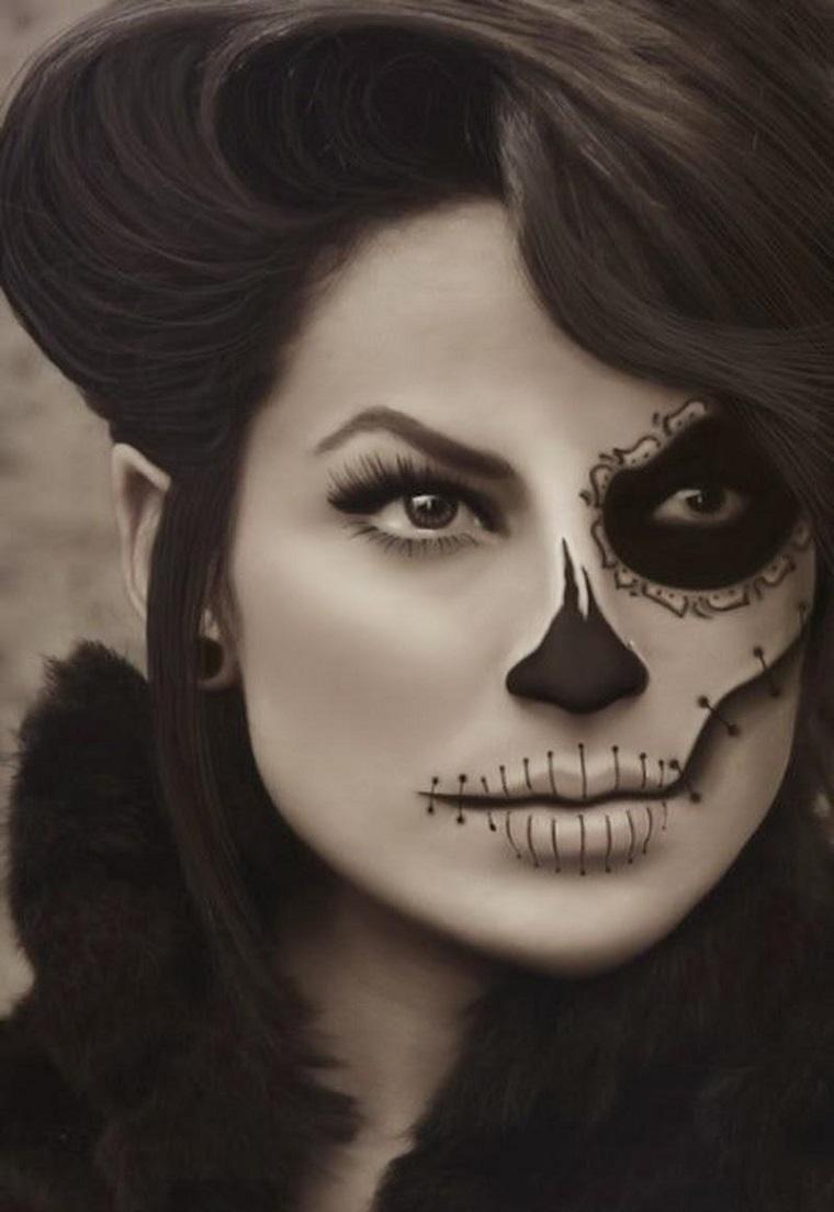maschera halloween donna meta faccia