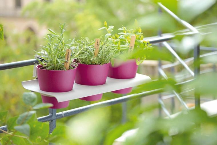 mensola bianca abbinata colore viola vasi erbe aromatiche