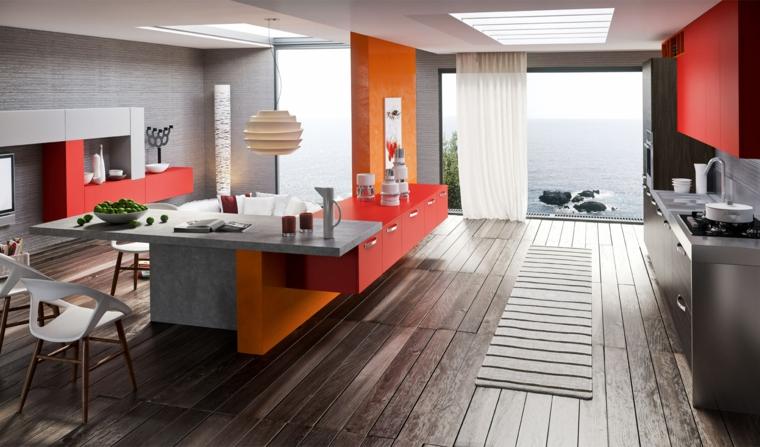mensole design cucina colorata rosso arancione bianco